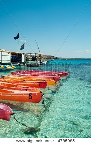 Plastic Colorful Boats In Shallow Water Of Mediterranean, Nissi Beach, Agia Napa,cyprus