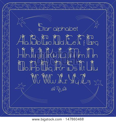 Vector vintage alphabet. Letters and frame with cartoon stars and comets on blue background. Lines font design.