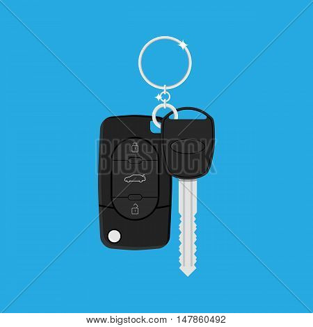 Car Key with alarm and chain. vector illustration in flat style on blue background