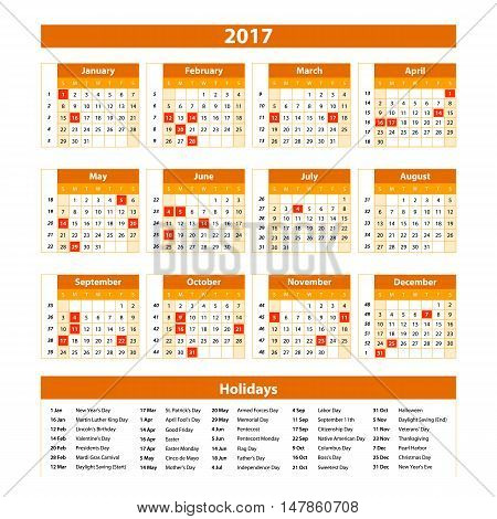 Wall Calendar Planner For 2017 Year. Vector Design Print Template With Place For Photo And Notes. We