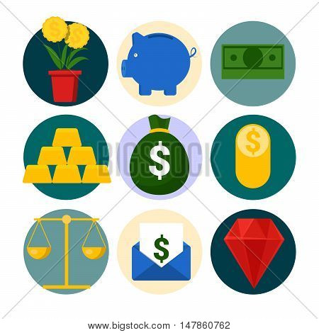 Money and Finance Vector Icons Set with Piggy and Gold
