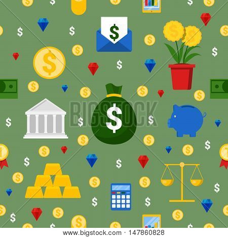 Money and Finance Seamless Pattern Vector Background