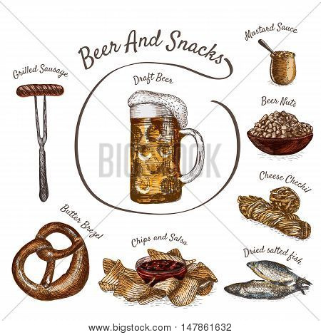 Beer and snack products illustration. Vector colorful illustration of beer and snack product