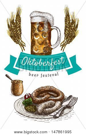 Oktoberfest set illustration. Vector colorful illustration of beer and snack products.