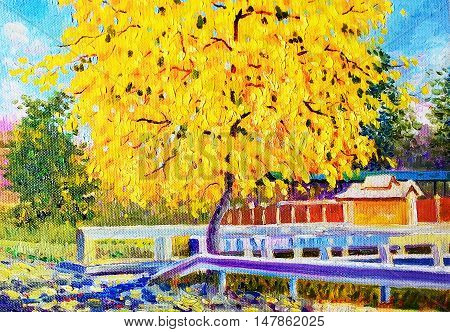 Painting oil color landscape original colorful of golden tree flower and emotion in yellow color with sky background