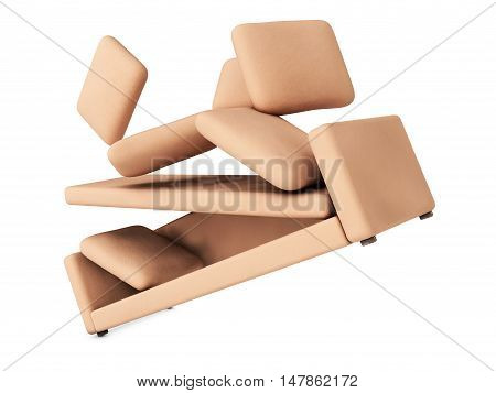 beige sofa in flight 3D render sofa, white, armchair,