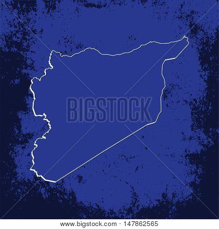 3D Vector Syria Map Blueprint Grunge Outline