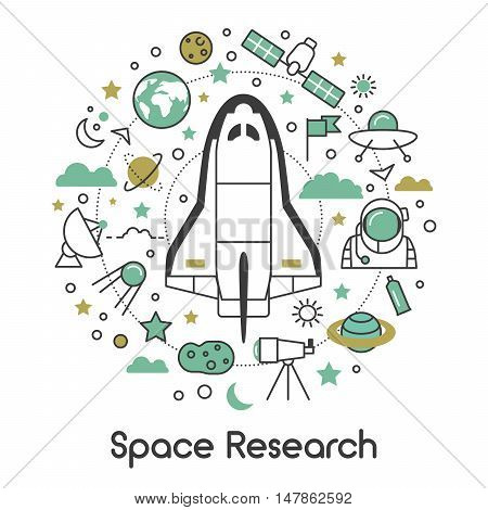 Space Research Line Art Thin Vector Icons Set with Shuttle Astronaut and Planets