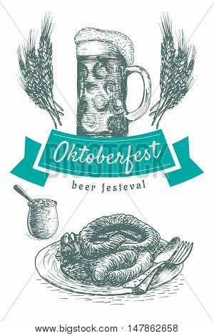 Oktoberfest set illustration. Vector illustration of beer and snack products.
