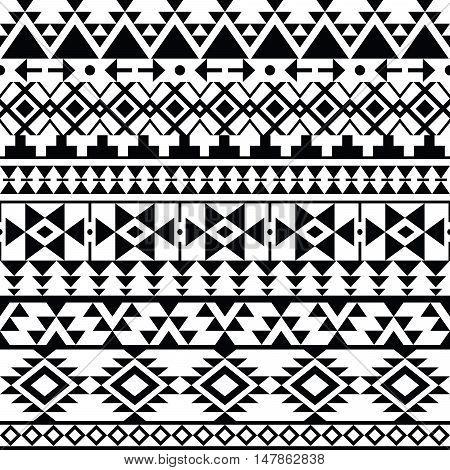 Seamless black Navajo print, Aztec pattern, Tribal design