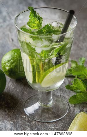 Glass Tank Mojito And Ingredients For Cocktails. Fresh Mint, Lim