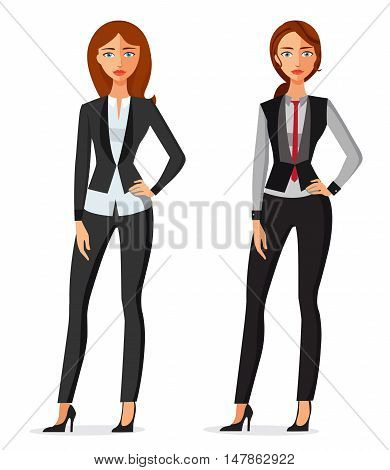 Business women standing isolated on a white background. Beautiful young women in elegant office clothes. Vector illustration. Cute cartoon illustration of a beautiful business woman or secretary, in various poses.