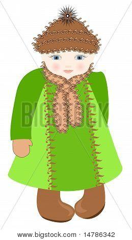 La chica de ojos azules en un abrigo verde