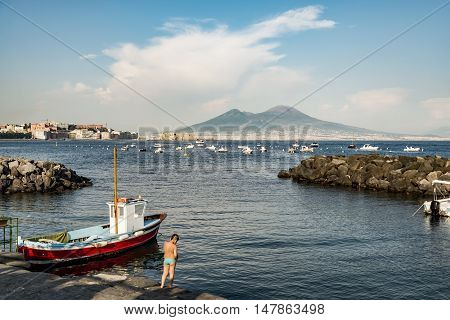 Naples and mount Vesuvius in the background in a summer day, Italy, Campania