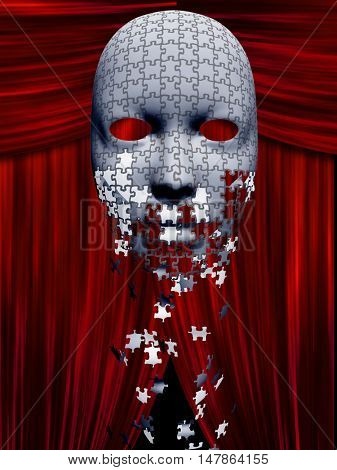 Puzzle pieces fall away from mask in theater background 3D Render