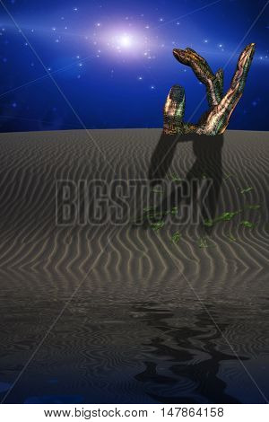 Desert Scene with Giant Sculpture and grass growing in image of clock 3D Render
