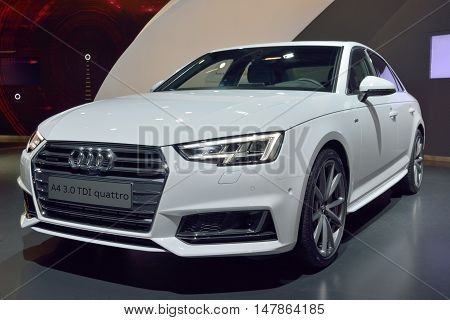 Wolfsburg, Germany - April 15, 2016. Audi A4 3.0 TDI quattro car on display at Audi showroom in Autostadt theme park in Wolfsburg.