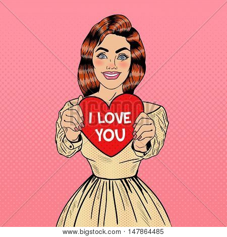 Young Pretty Pop Art Woman Holding Big Red Heart in her Hands. Vector illustration