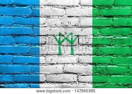 Flag Of Montgomery Village, Maryland, Usa, Painted On Brick Wall