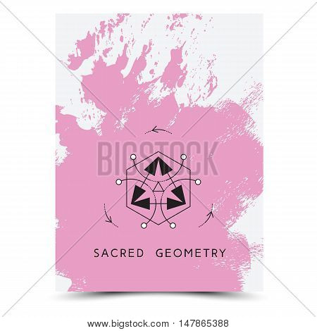 Vector geometric alchemy symbols with phrases on hand drawn background with splash of pink paint. Abstract occult and mystic signs. Business card template and line hipster logotype. Concept of yoga.