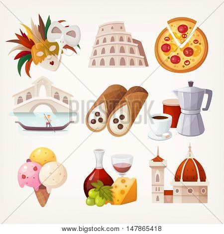 Set of Italian travel icons. Symbols of the country. Various sights and famous elements. Isolated vector illustrations.