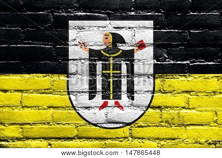 Flag Of Munich With Coat Of Arms, Germany, Painted On Brick Wall