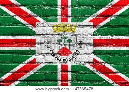 Flag Of Municipio De Campos Do Jordao, Sao Paulo, Brazil, Painted On Brick Wall