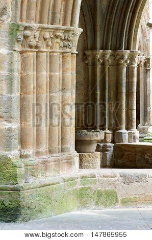 Cloister in cistercian Veruela Monastery, Saragossa, Aragon, Spain