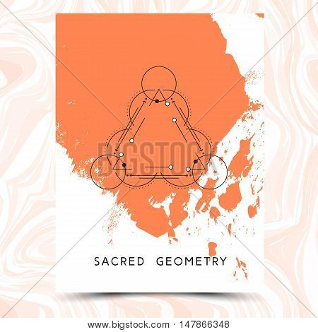 Vector geometric alchemy symbols on hand drawn background with splash of paint. Abstract occult and mystic signs on marbled paper. Business card template and line hipster logotype. Concept of yoga.