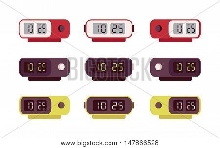 Set of retro digital alarm clocks isolated against the white background. Cartoon vector flat-style illustration