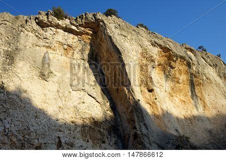 Rock formation in Zafrane Canyon, Zaragoza Province, Aragon, Spain.
