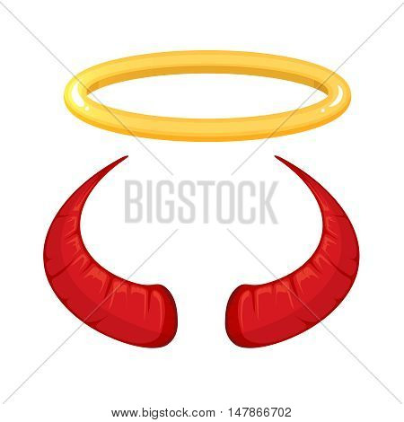 vector illustration of red Devil horns and nimbus isolate on white background. Picture for halloween party