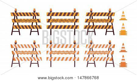 Set of roadblock with light and cone isolated against the white background. Cartoon vector flat-style illustration