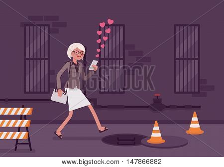 Woman walks with a smartphone to fall into a manhole. Cartoon vector flat-style concept illustration