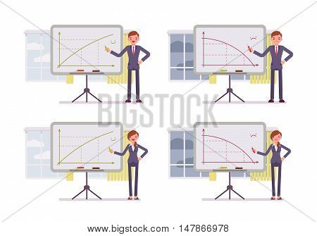 Man and woman points to positive and negative charts on the blackboard. Cartoon vector flat-style concept illustration