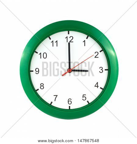Three o'clock on big wall clock in green case isolated on white close up