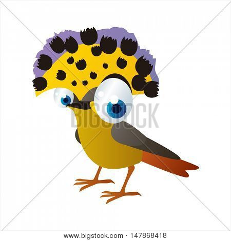 vector funny animal cute character illustration. Flycatcher