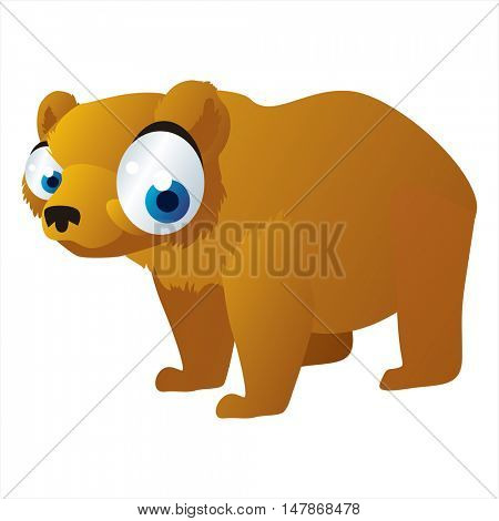 vector funny animal cute character illustration. Grizzly bear
