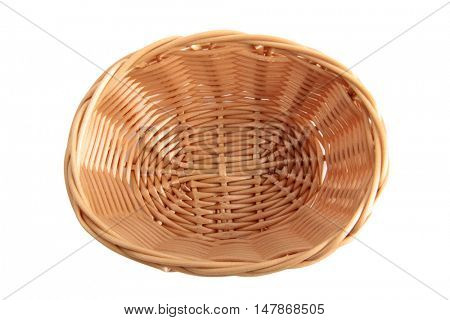 Retro wicker basket on white background