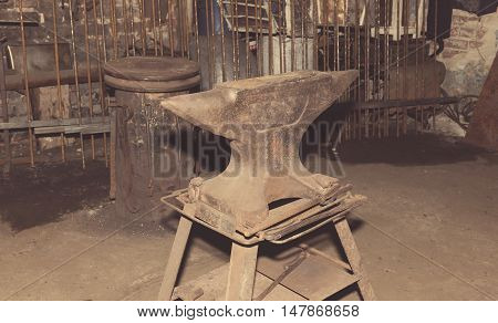 Anvil Used By A Blacksmith In Old Shop