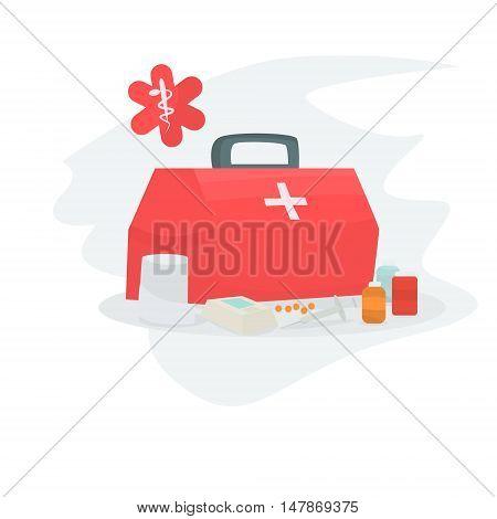 First Aid Kit medetsinskie drugs . Ambulance Vector illustration
