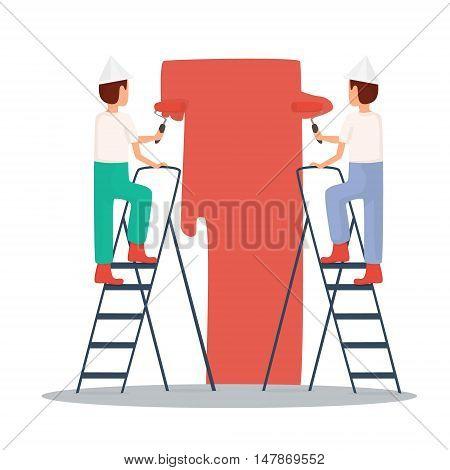 Builders paint the walls. Construction paint work . Vector illustration