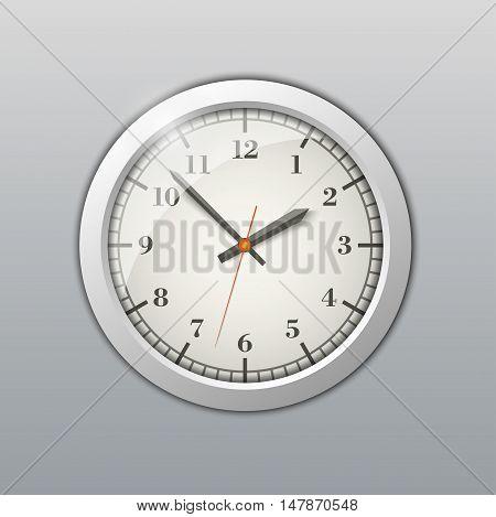Round wall clock. Realistic vector illustration of wall clock