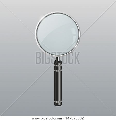 Magnifying glass photo-realistic vector illustration. 3d Lens, loupe, magnifier