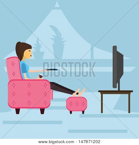 girl resting watching television sitting on the couch . vector illustration