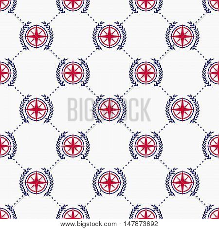 Maritime mood, Seamless nautical pattern with wind rose and wreath