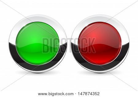 Glass buttons with chrome frame. Green and red. Vector illustration isolated on white background