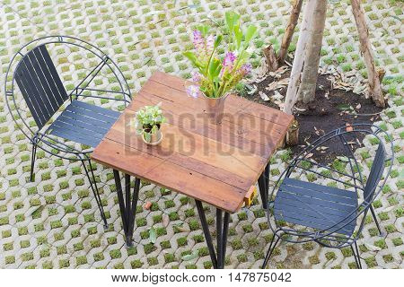 horizontal photo of Top view of table and two chairs with hole pattern floor.