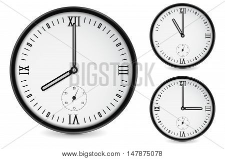 Clock. Eight three eleven o'clock. Vector illustration isolated on white background