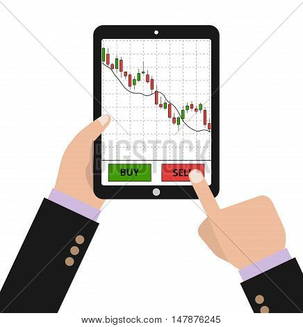 Hand holding tablet with forex stock chart. Stock trade application on tablet. Digital device with forex diagram. Vector illustration.